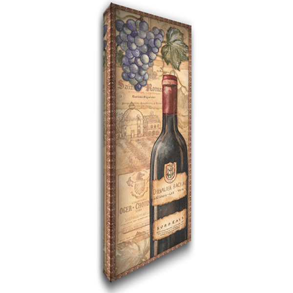 Vineyards - Red 19x40 Gallery Wrapped Stretched Canvas Art by Audrey, Charlene