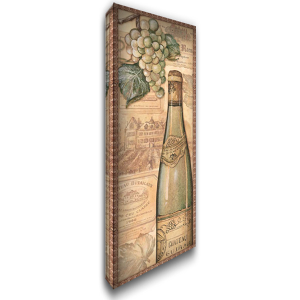 Vineyards - White 19x40 Gallery Wrapped Stretched Canvas Art by Audrey, Charlene