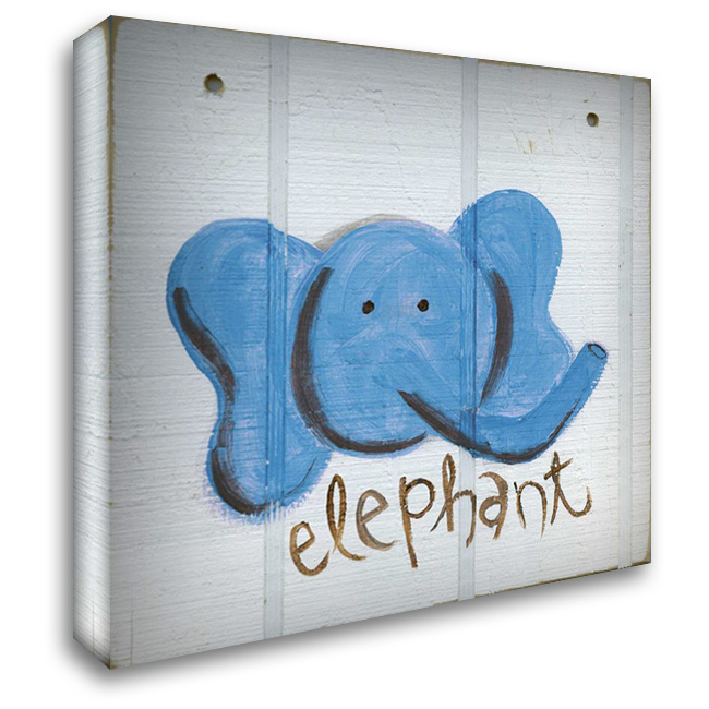 Happy Blue Elephant 28x30 Gallery Wrapped Stretched Canvas Art by Butson, Erin