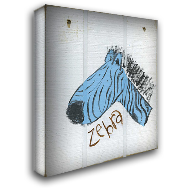 Happy Blue Zebra 28x32 Gallery Wrapped Stretched Canvas Art by Butson, Erin