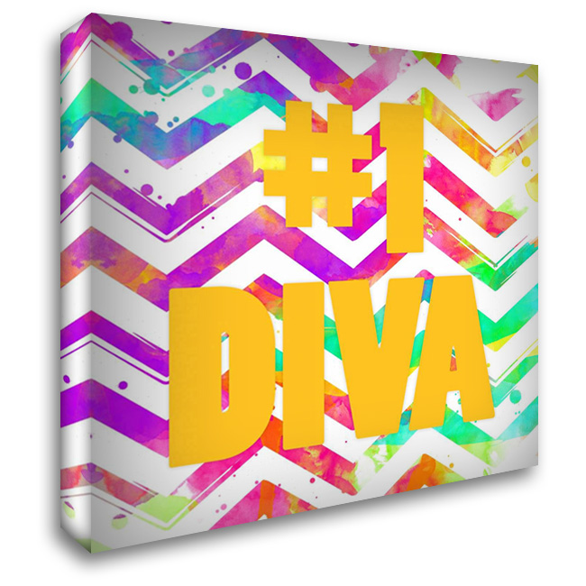 Diva Chevron 28x28 Gallery Wrapped Stretched Canvas Art by Grey, Jace
