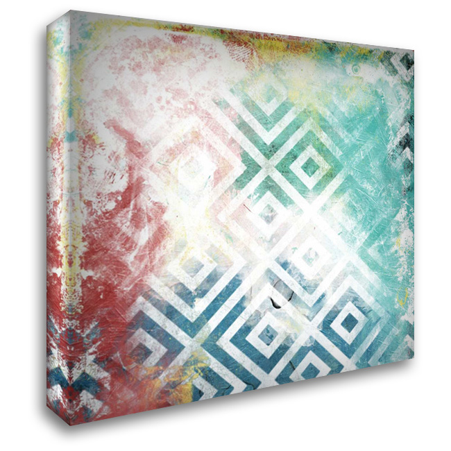Happy Cosmic pattern 28x28 Gallery Wrapped Stretched Canvas Art by Grey, Jace