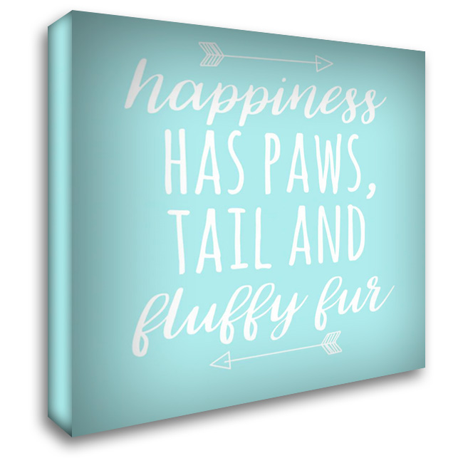 Happiness Paws Blue 28x28 Gallery Wrapped Stretched Canvas Art by Matic,Jelena
