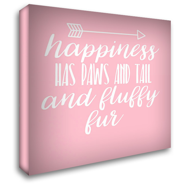 Happiness Paws Pink 28x28 Gallery Wrapped Stretched Canvas Art by Matic,Jelena