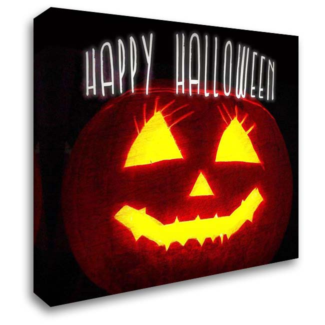Happy Halloween Pumpkin 28x28 Gallery Wrapped Stretched Canvas Art by Kimberly, Allen