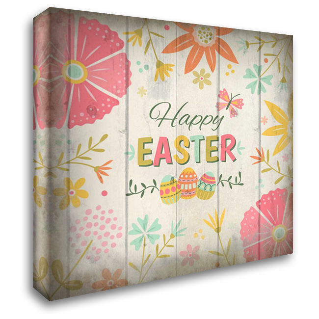 Happy Easter 28x28 Gallery Wrapped Stretched Canvas Art by Allen, Kimberly