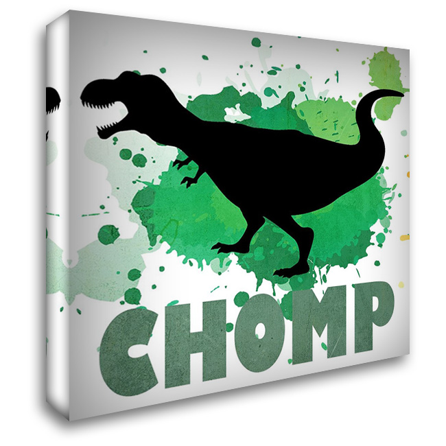 Dino Chomp 28x28 Gallery Wrapped Stretched Canvas Art by Kimberly, Allen