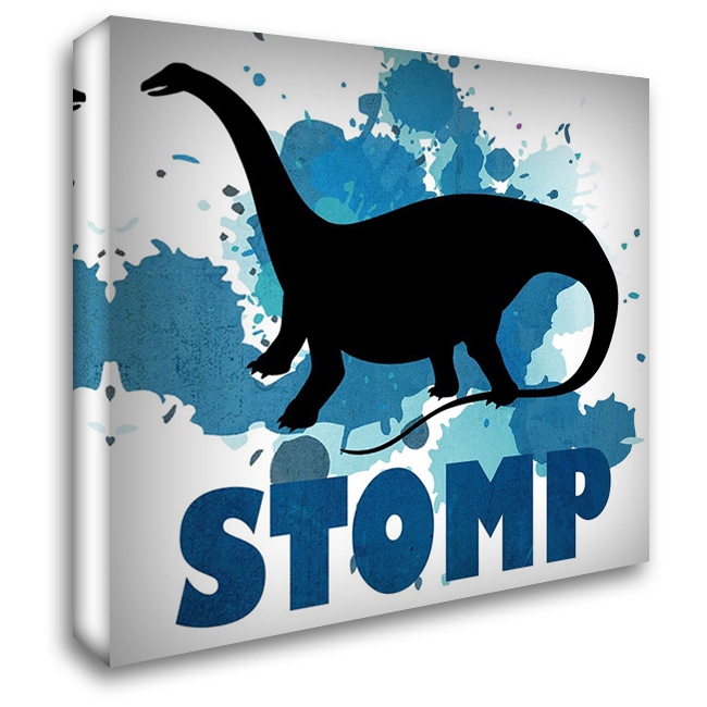 Dino Stomp 28x28 Gallery Wrapped Stretched Canvas Art by Kimberly, Allen