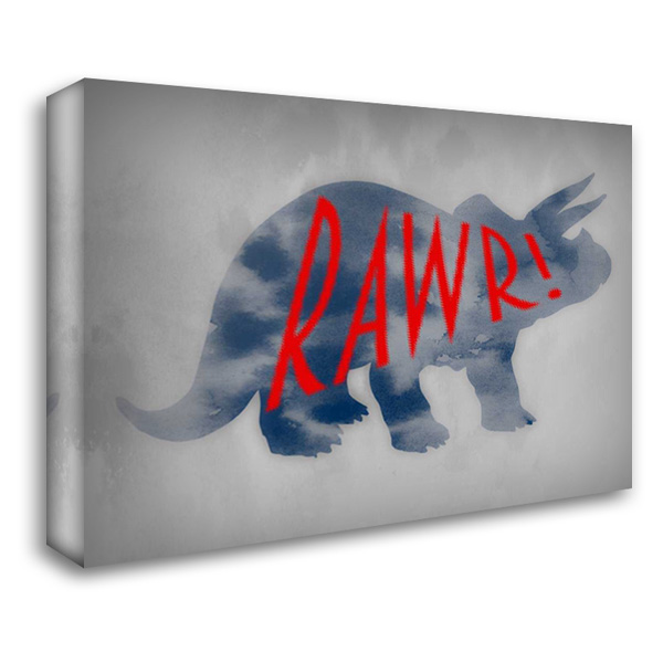 Dino Rawr 37x28 Gallery Wrapped Stretched Canvas Art by Prime, Marcus