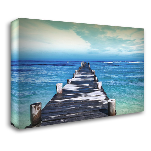 Dock at Sea 37x28 Gallery Wrapped Stretched Canvas Art by Villa, Milli