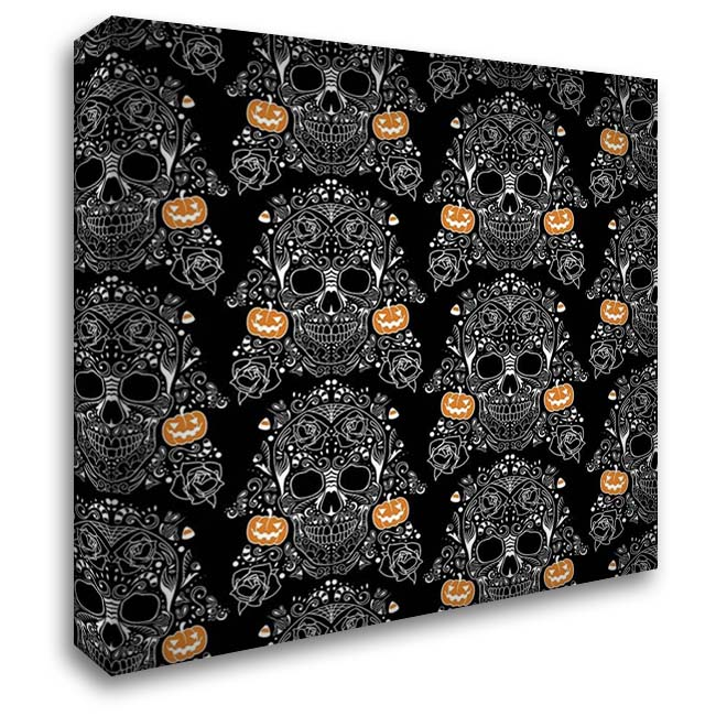 Halloween Skull Pattern 28x28 Gallery Wrapped Stretched Canvas Art by Villa, Mlli
