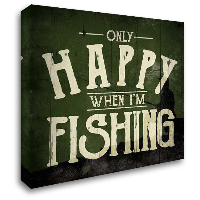 Happy Fishing 28x28 Gallery Wrapped Stretched Canvas Art by Villa, Mlli