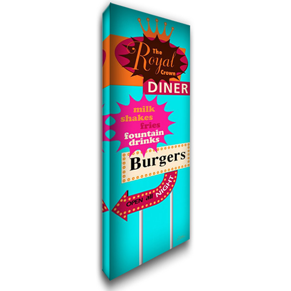 Diner Bright 16x40 Gallery Wrapped Stretched Canvas Art by Windvand, Marilu