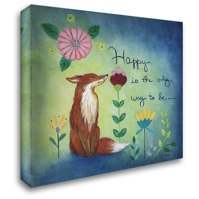 Happy Fox 28x28 Gallery Wrapped Stretched Canvas Art by Tava Studios