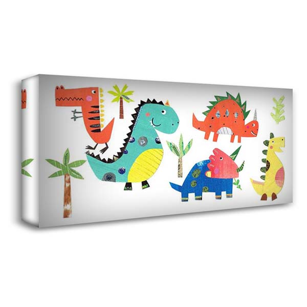 Dino Party 40x22 Gallery Wrapped Stretched Canvas Art by Pope, Katherine and Elizabeth