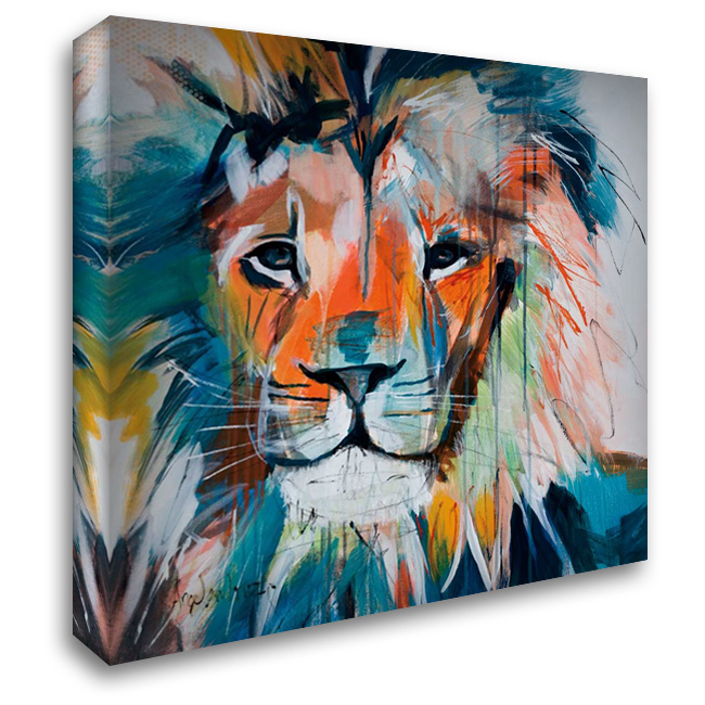 Do You Want My Lions Share 28x28 Gallery Wrapped Stretched Canvas Art by Maritz, Angela