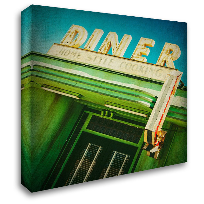 Diner Sign 28x28 Gallery Wrapped Stretched Canvas Art by Malek, Honey