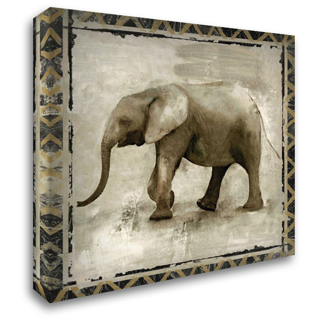 Happy Elephant 28x28 Gallery Wrapped Stretched Canvas Art by Woodey, Michelle