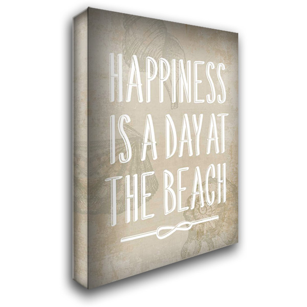 Happiness is a day at the Beach 28x40 Gallery Wrapped Stretched Canvas Art by PI Galerie