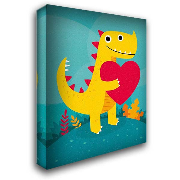 Dino Love 28x36 Gallery Wrapped Stretched Canvas Art by Buxton, Michael