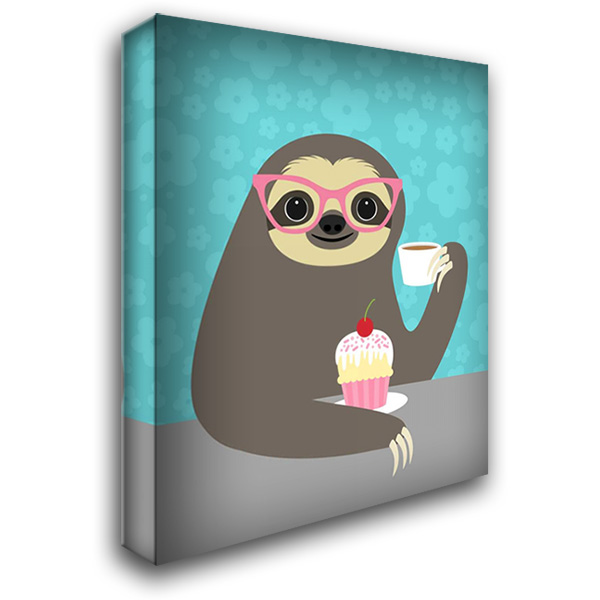 Diva Sloth 28x36 Gallery Wrapped Stretched Canvas Art by Lee, Nancy