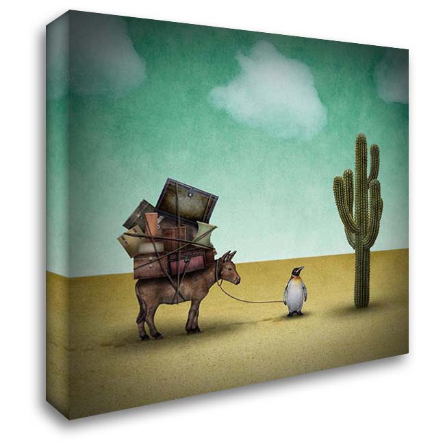 Mr. Penguin Goes on Holiday 28x28 Gallery Wrapped Stretched Canvas Art by Noblin, Greg