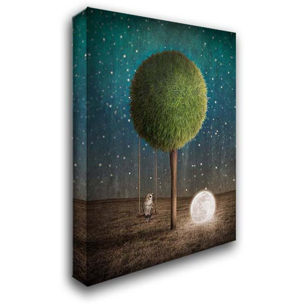 Tappy and the Moon 28x36 Gallery Wrapped Stretched Canvas Art by Noblin, Greg