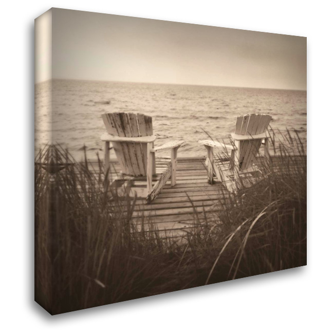 Beach Chairs 28x28 Gallery Wrapped Stretched Canvas Art by Triebert, Christine