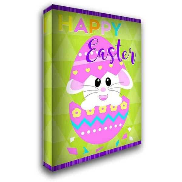 Happy Easter Bunny in Egg 28x40 Gallery Wrapped Stretched Canvas Art by Quach, Anna