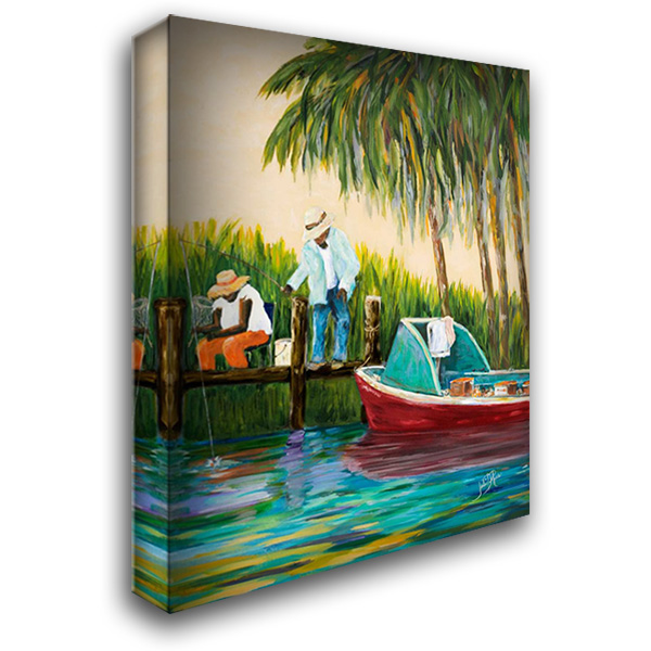 Dock Fishing 28x36 Gallery Wrapped Stretched Canvas Art by DeRice, Julie