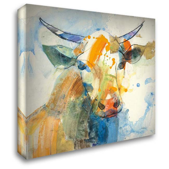 Happy Cows I 28x28 Gallery Wrapped Stretched Canvas Art by Hristova, Albena