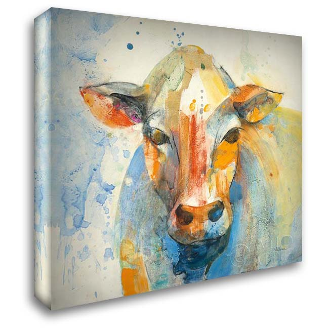 Happy Cows II 28x28 Gallery Wrapped Stretched Canvas Art by Hristova, Albena