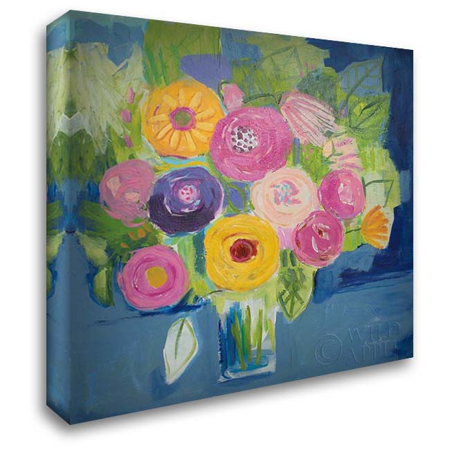Happy Bouquet 28x28 Gallery Wrapped Stretched Canvas Art by Zaman, Farida