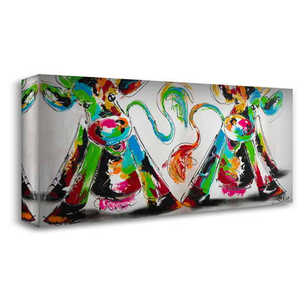 Happy cows I 40x22 Gallery Wrapped Stretched Canvas Art by Fiore, Art