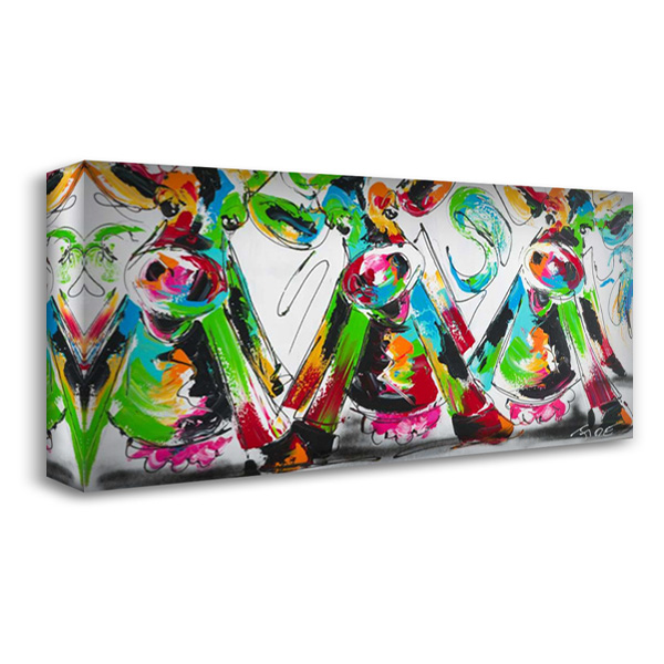 Happy cows II 40x22 Gallery Wrapped Stretched Canvas Art by Fiore, Art