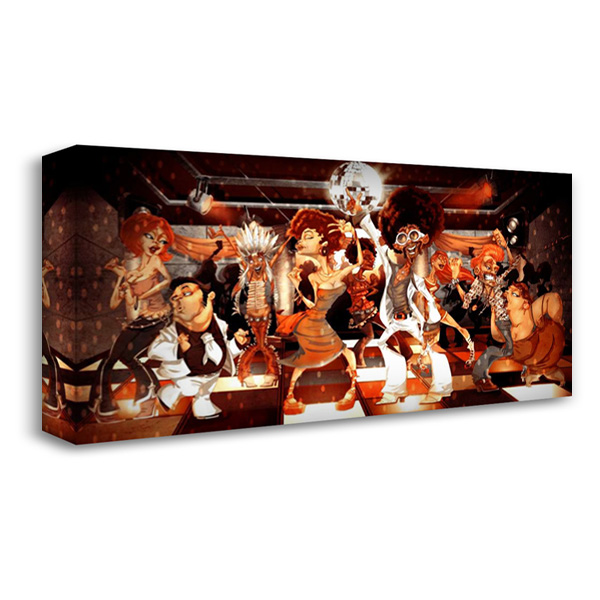 Disco Club -2 40x22 Gallery Wrapped Stretched Canvas Art by Alvez, A. - Perez, A.