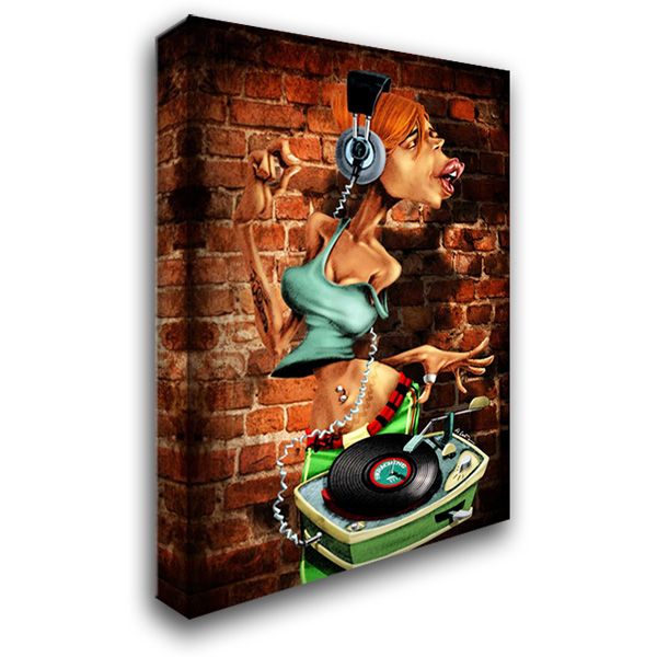 DJ-Moon 28x38 Gallery Wrapped Stretched Canvas Art by Alvez, A. - Perez, A.