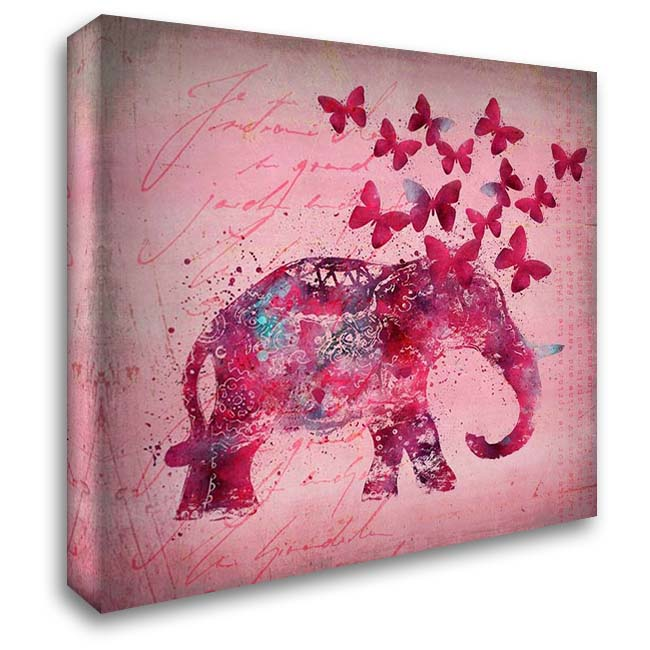 Happy Elephant 28x28 Gallery Wrapped Stretched Canvas Art by A.V. Art