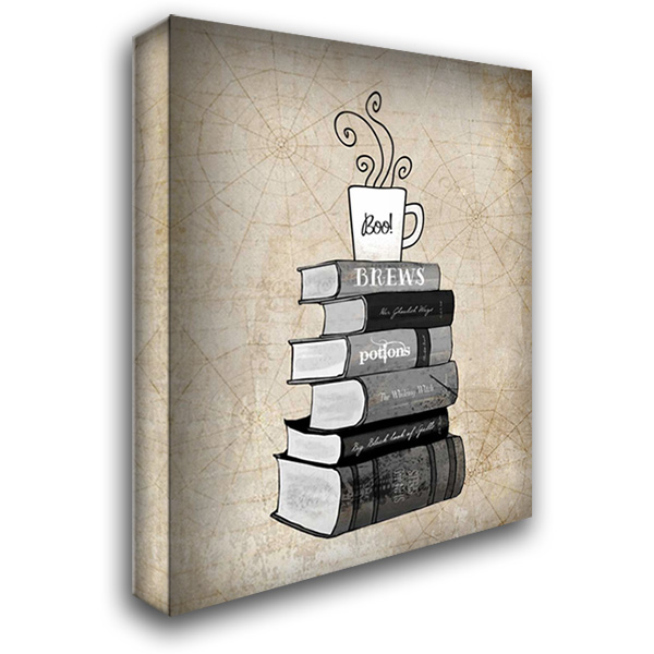 Halloween Books and Coffee 28x36 Gallery Wrapped Stretched Canvas Art by Cummings, Amy