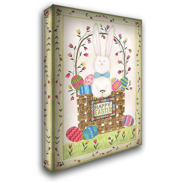 Happy Easter Basket 28x40 Gallery Wrapped Stretched Canvas Art by Shamp, Cindy