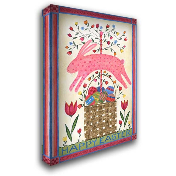 Happy Easter Pink 28x40 Gallery Wrapped Stretched Canvas Art by Shamp, Cindy