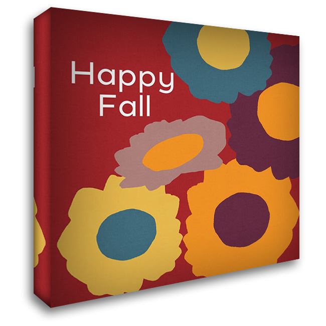 Happy Fall 28x28 Gallery Wrapped Stretched Canvas Art by Woods, Linda