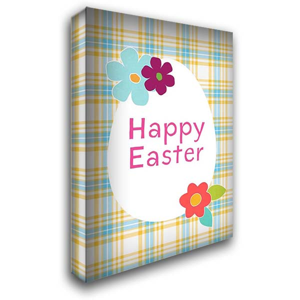 Happy Easter Blue Plaid 28x40 Gallery Wrapped Stretched Canvas Art by Woods, Linda