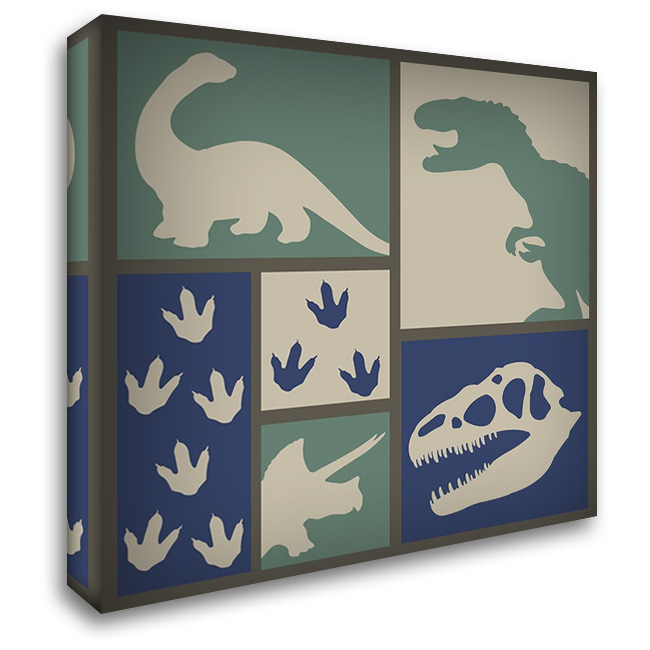 Dino Collage 28x28 Gallery Wrapped Stretched Canvas Art by ND Art and Design