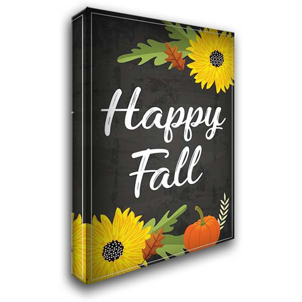 Happy Fall 28x40 Gallery Wrapped Stretched Canvas Art by ND Art