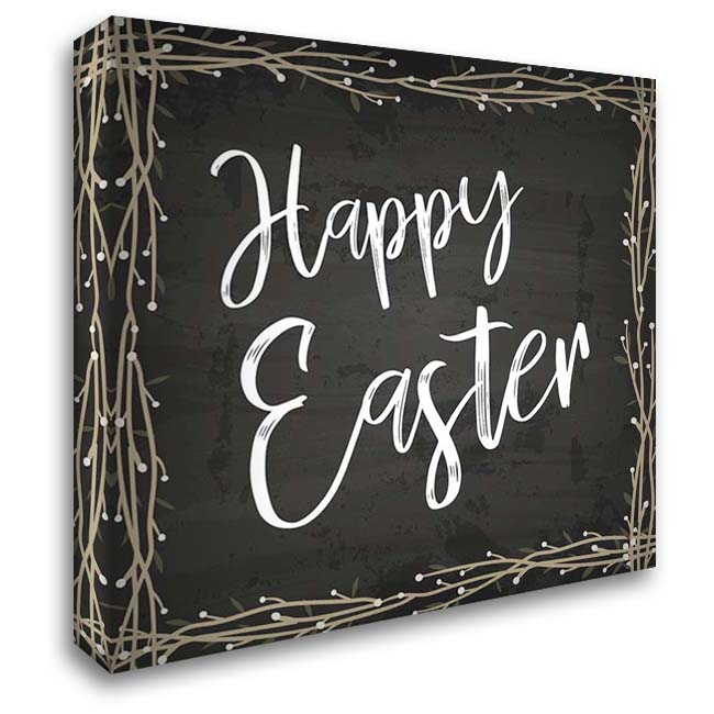Happy Easter 28x28 Gallery Wrapped Stretched Canvas Art by ND Art