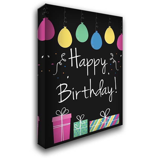 Happy Birthday 28x40 Gallery Wrapped Stretched Canvas Art by ND Art