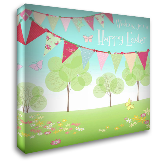 Happy Easter Flags 28x28 Gallery Wrapped Stretched Canvas Art by P.S. Art Studios