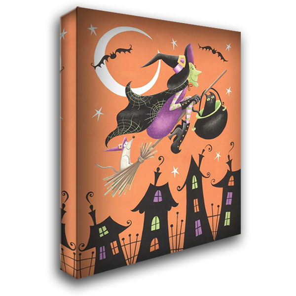 Halloween Witch 28x36 Gallery Wrapped Stretched Canvas Art by P.S. Art Studios