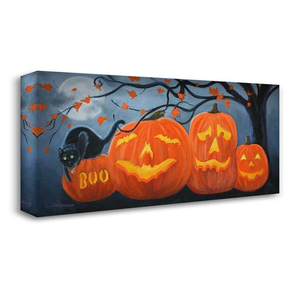 Halloween Pumpkins 40x22 Gallery Wrapped Stretched Canvas Art by Peterson, Julie